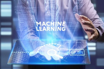 Business, Technology, Internet and network concept. Young businessman working on a virtual screen of the future and sees the inscription: Machine learning